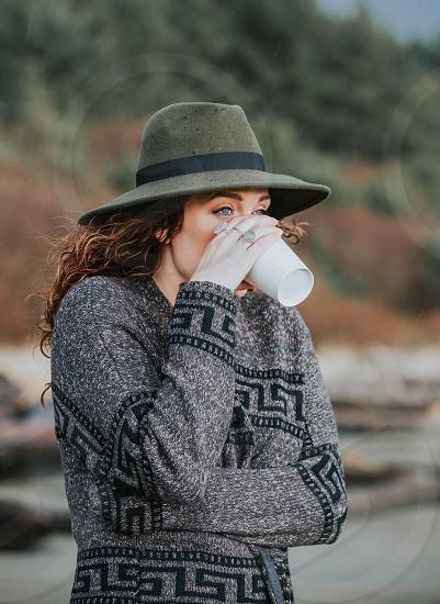 Coffee fall autumn hat sweater knits west coast Canada fashion  photo