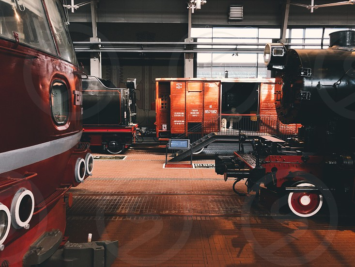 #train #wagon #rails #red #black #brown #railroad #rail #training #railway #railways #industrial #orange #transportation #color #wheels #railing photo