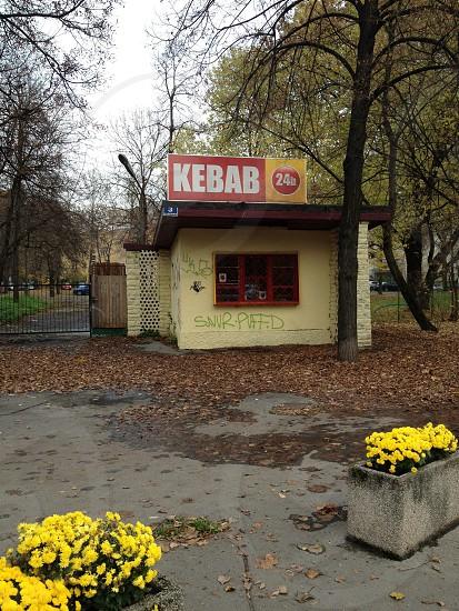 kebab store near tree photo