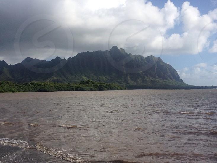 ocean with hills photo