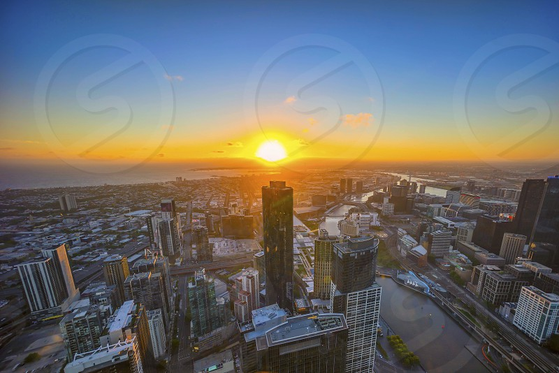 Melbourne during sunset  photo