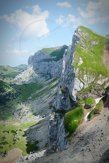hiking in Rofan mountain area in Tyrol (Austria). retro retouch of image. photo