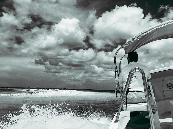 Black and white boat water  photo