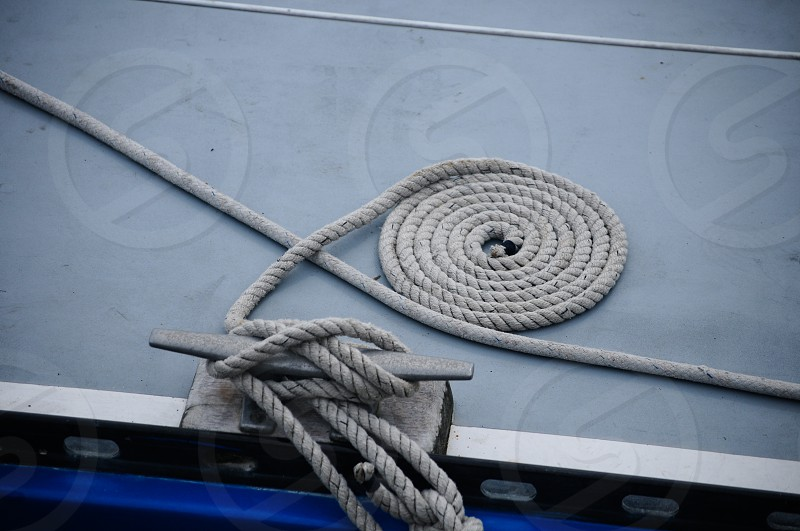 Rope on a yacht photo