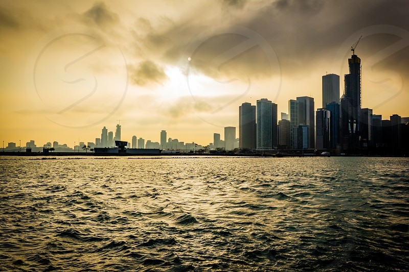 The Chicago skyline on a winters day. Shot from the Navy Pier photo