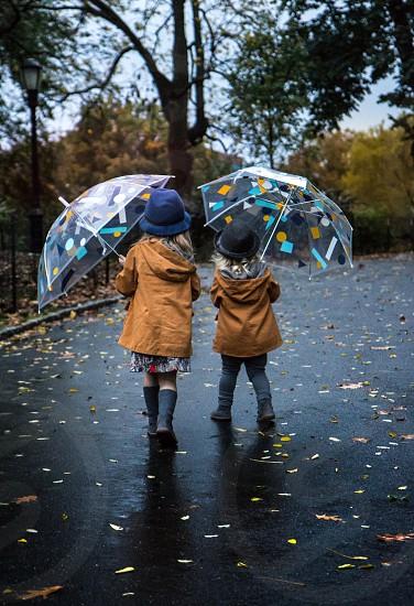 #fall #autumn #kids #rainy #love #umbrella #walk #park photo