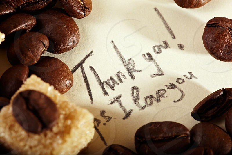 Coffee beans on yellowish vintage paper with pencil inscription: Thank you I love you. Natural morning sunlight. photo