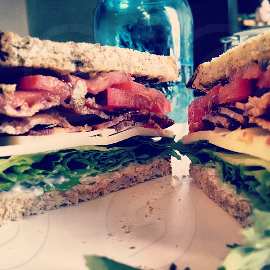 sandwich food stacked bacon cheese photo