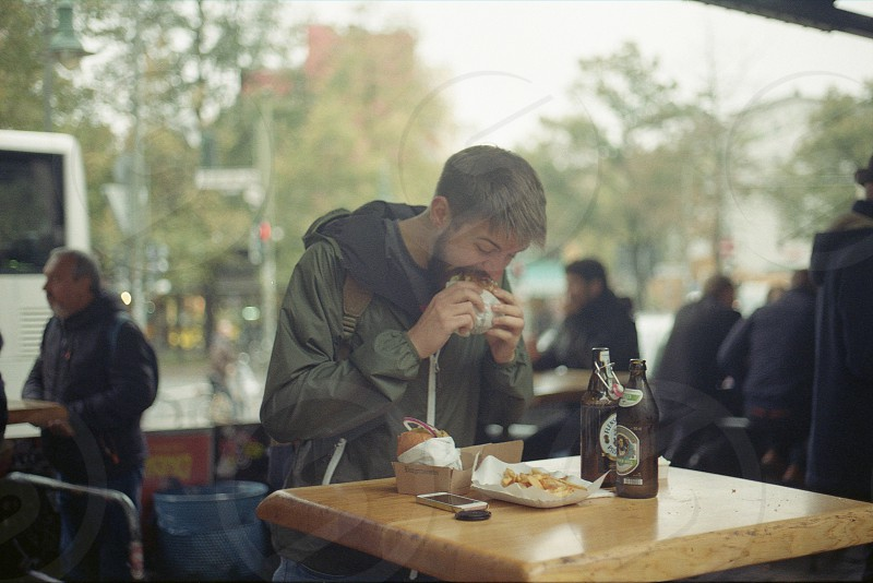 Man eating burger  photo
