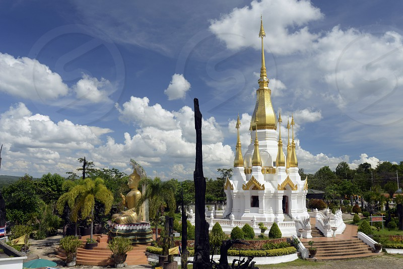 the temple Wat Tham Khu Ha Sawan in Khong Jiam on the Mekong River near Khong Chiam in the provinz of Ubon Rachathani in the Region of Isan in Northeast Thailand in Thailand. photo