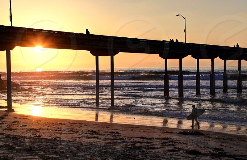 A surfer walks on Ocean Beach near the pier in San Diego California. photo