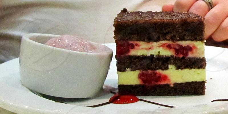 Chocolate Raspberry and Vanilla Cream Cake photo
