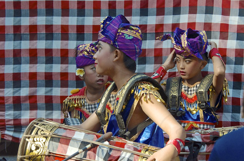 Bali parade music drums colorful costumes boys. photo