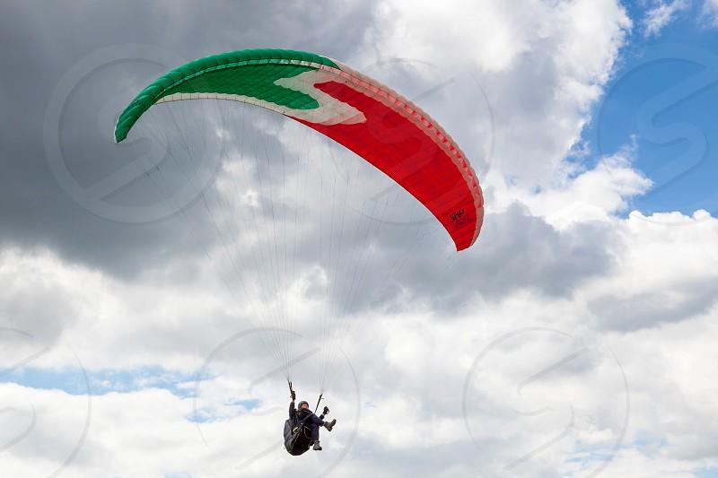 DEVILS DYKE BRIGHTON/SUSSEX - JULY 22 : Paragliding at Devil's Dyke near Brighton on July 22 2011. Unidentified person photo