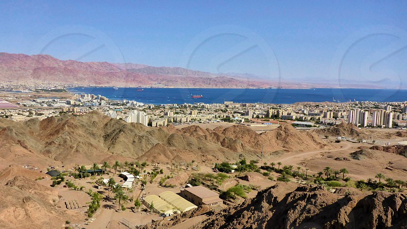 View of Eilat and Jordan from the mountain. Israel photo