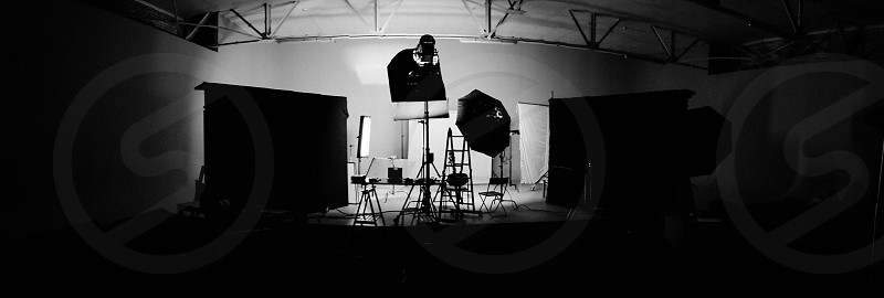 photography studio with lights and background photo