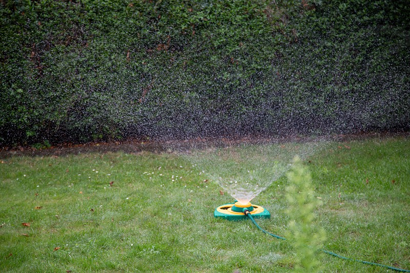 a lawn sprinkler watering a meadow with fine droplets in summer photo