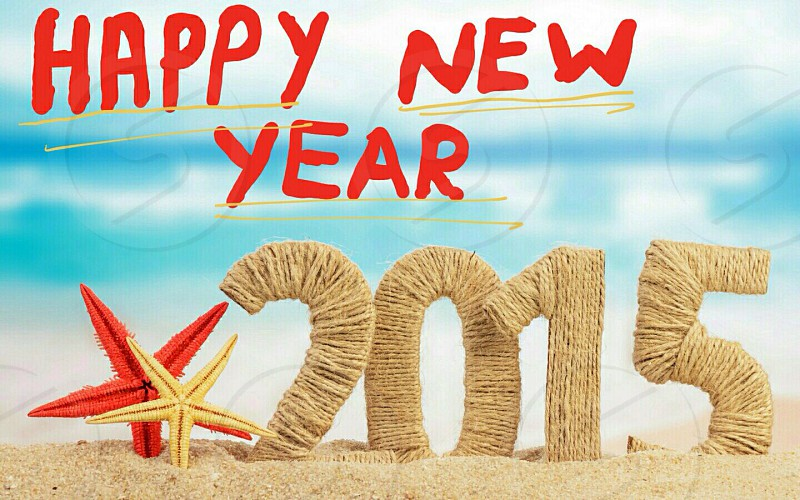 2015 cut-out letters with Happy New Year text digital wallpaper photo