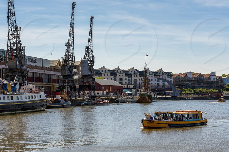 BRISTOL UK - MAY 14 : Ferry crossing the River Avon in Bristol on May 14 2019. Unidentified people photo