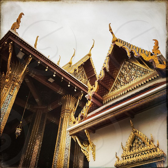 Outdoor day colour horizontal landscape Grand Palace Bangkok Thailand Kingdom travel tourism tourist wanderlust gold gold leaf Buddhist Buddhism holy royal regal monarchy temple temples mosaic mirror tile tiles square shrine royal regal royalty photo