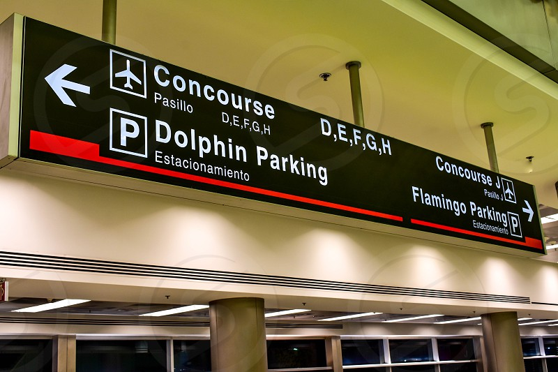 Miami Florida. January 05 2019.  Top view of Concourse DEFG H sign at Miami International Airport . photo