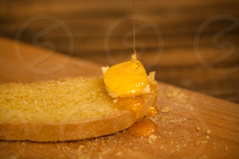Tasty bread with honey food sweet tasty warm wood home  photo