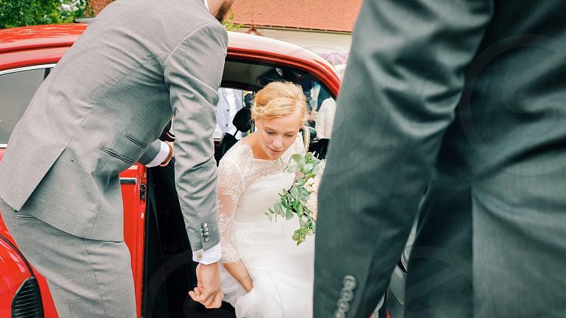 Wedding marridge  bride bestman car transport  flowers bouquet  arrival  beauty woman  photo