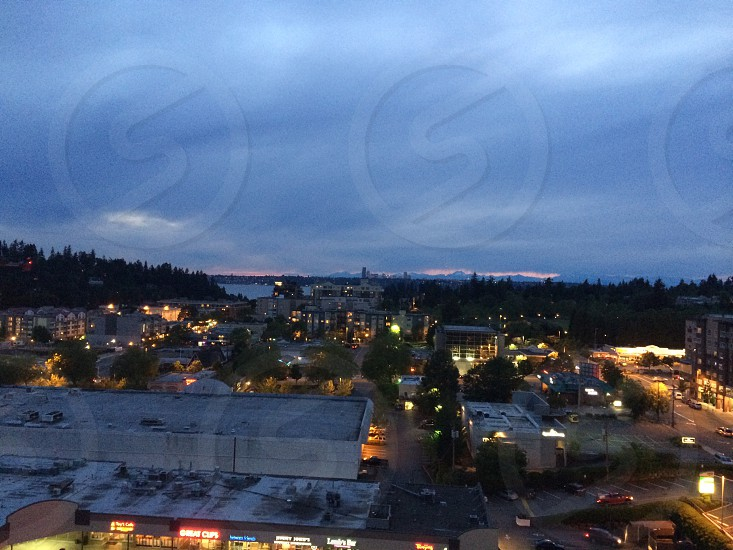 Downtown Bellevue WA at night photo