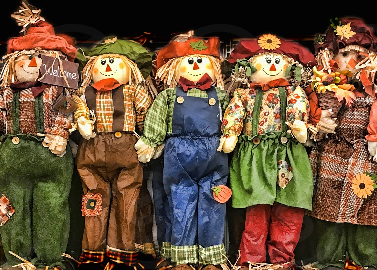 Scarecrows standing in a row photo