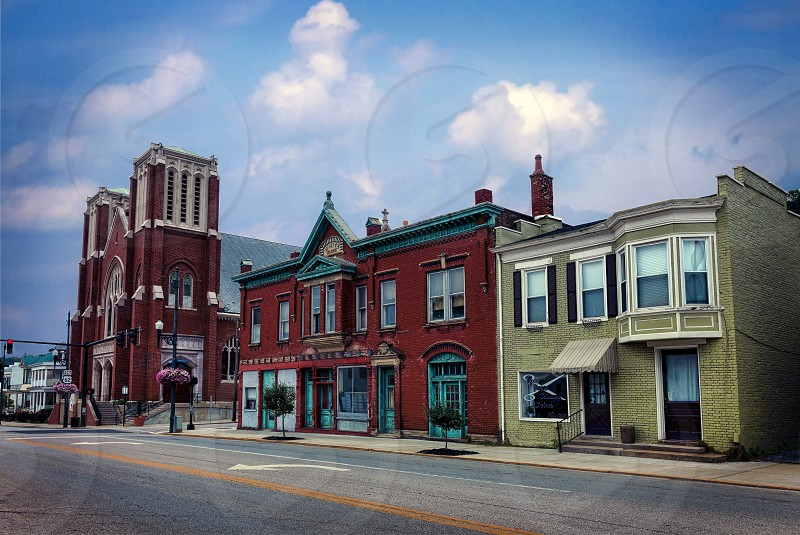 Maysville KY July 16 2016.  View of East 3rd St and Limestone St. Businesses Church and residences. photo