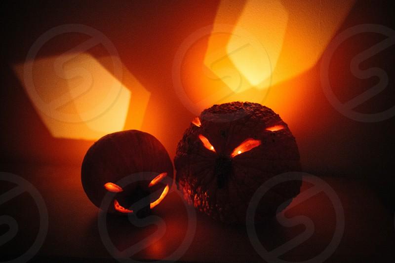 2 jack o lanterns photo