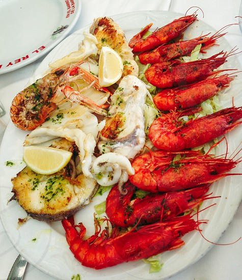 seafoods on plate photo