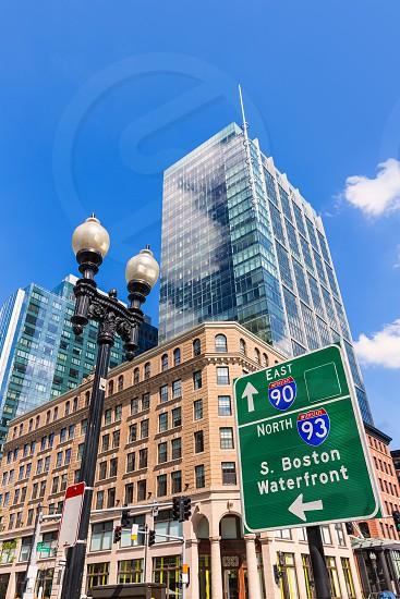 Boston Massachusetts downtown buidings cityscape in USA photo