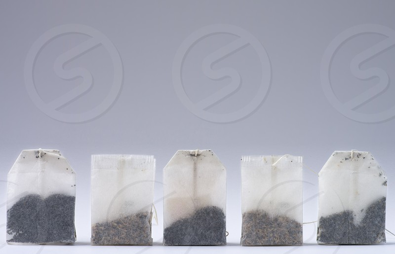 Row of tea bags photo