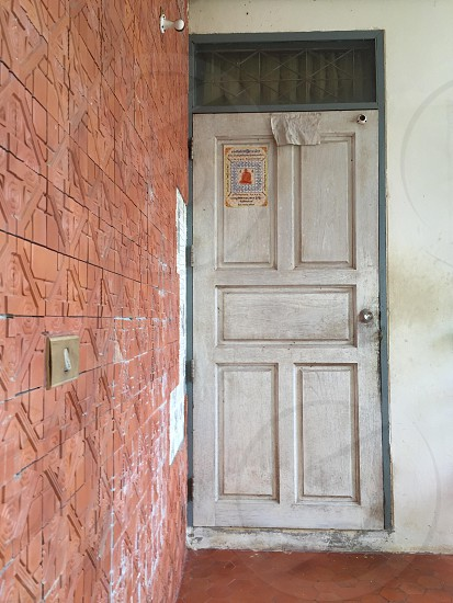 Wood door in Thailand photo