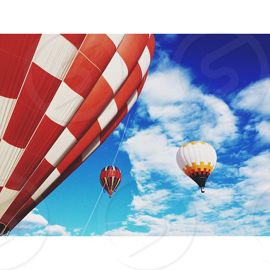 red white air balloon photo