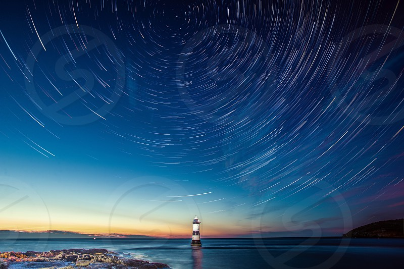 Lighthouse with Star Trails photo