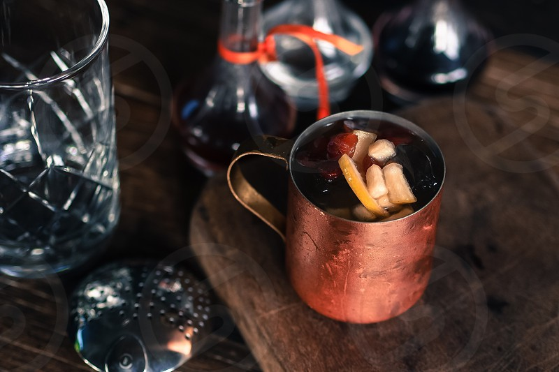 Fancy cobbler in a copper cup. Craft cocktails. photo