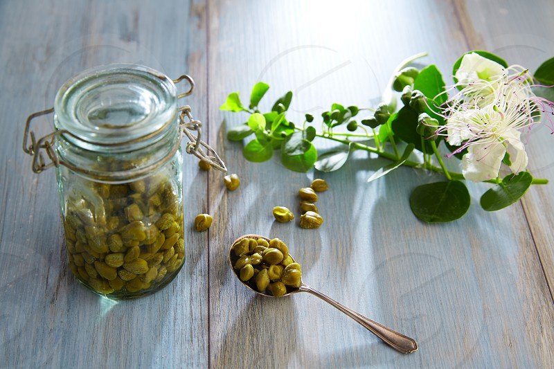 Capers pickled with plant and caper plant flower on vintage spoon photo