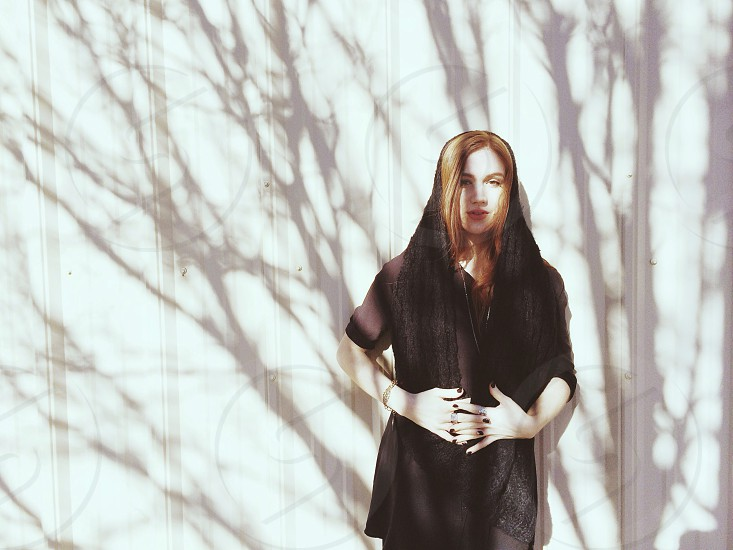 woman's black scarf photo