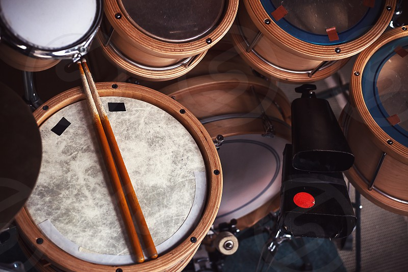 Rich set of wooden drums lot of components.  photo