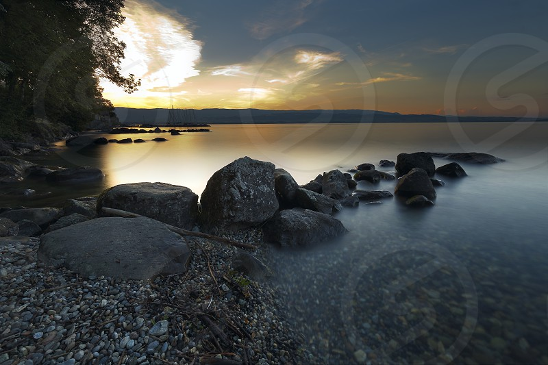 Sunset at Lake Leman town of Yvoire France. photo