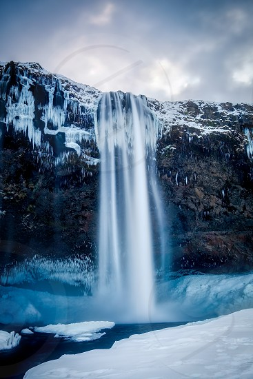 View of Seljalandfoss Waterfall in Winter photo