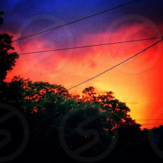 Sunset with wires photo