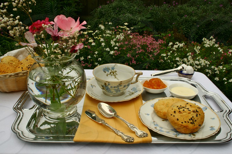 breakfast in garden vase of flowers scones china with blue flowers silver tray photo