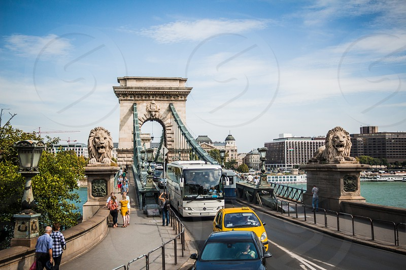 The Szechenyi Chain Bridge is a beautiful decorative suspension bridge that spans the River Danube of Budapest the capital of Hungary.