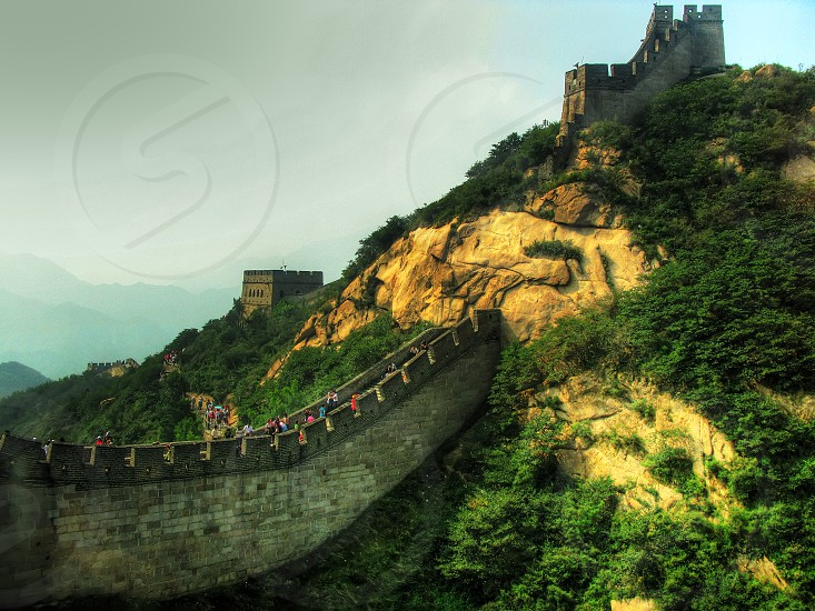 china wall great beijing badaling chinese landmark travel asia nature old architecture asian tourism culture ancient mountain landscape famous history historic border heritage dynasty defense tower tourist war fort Beijing photo