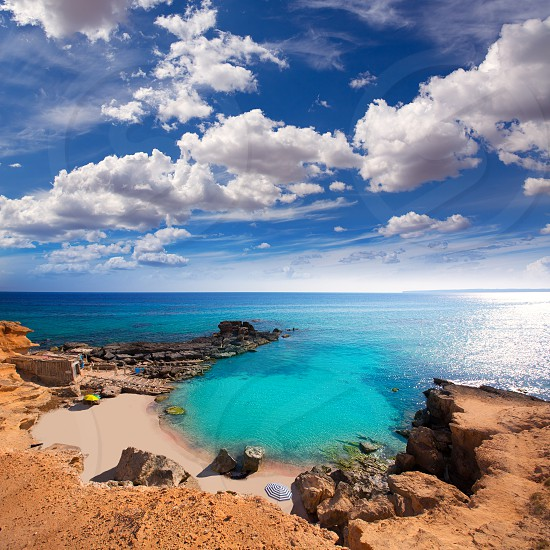 Formentera Es Calo des Mort beach turquoise Mediterranean at Mitjorn of balearic islands photo