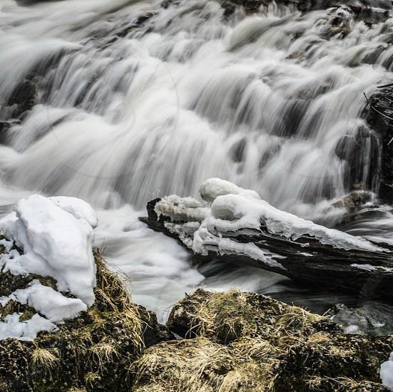 Long exposure winter waterfall photo
