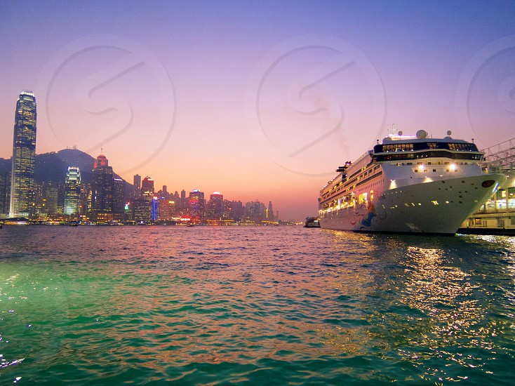 Hong Kong River Water Harbour Ship Skyscrapers Building Cityscape Skyline Horizon photo